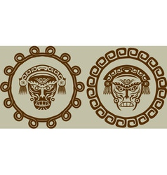 Native American masks in circular pattern vector image