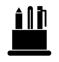 Pen holder solid icon pencil case vector