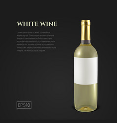 Photorealistic bottle of white wine on a black vector