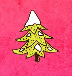Pine Tree with Snowfall Cartoon vector image