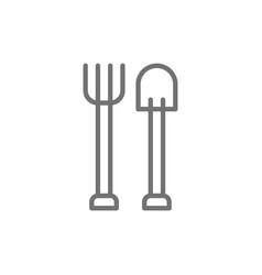 Pitchfork with shovel gardening tools vector