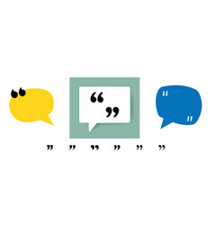 Quotation marks on blue and yellow round speech vector