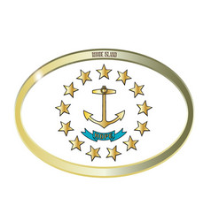 rhode island state flag oval button vector image