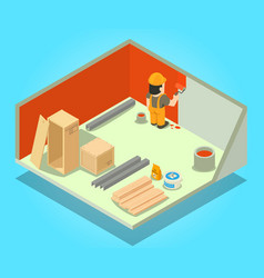 Room repair concept banner isometric style vector