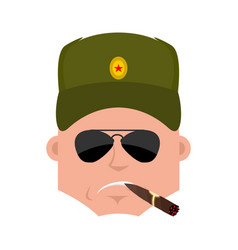 Russian soldier cool serious avatar emotions vector