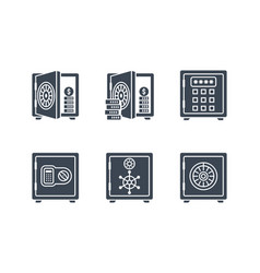 Safes related glyph icon set vector
