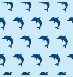 Seamless pattern with cute jumping dolphins on vector