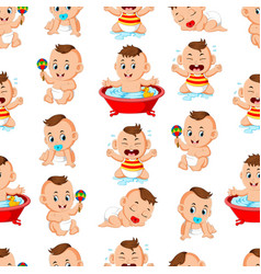 seamless pattern with happy babys vector image