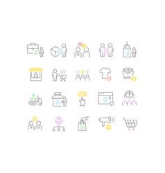 Set line icons b2c vector