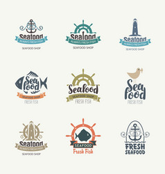 set logos on theme seafood in retro vector image