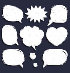 Set of comic speech bubbles in trendy flat vector