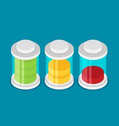 set stylish isometric battery charge icons vector image