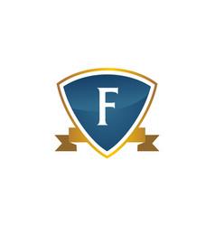 shield ribbon letter f vector image
