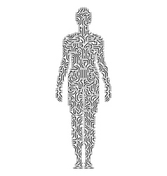 Silhouette of a woman in circuit scheme style vector