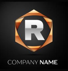 silver letter r logo symbol in golden hexagonal vector image