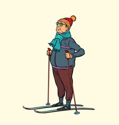 Skier middle-aged man hiking skiing vector