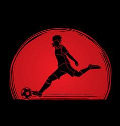 Soccer player shooting a ball action vector