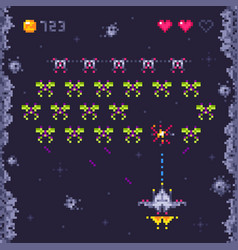 Space arcade game level retro invaders pixel art vector