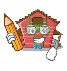 Student a red barn house character cartoon vector