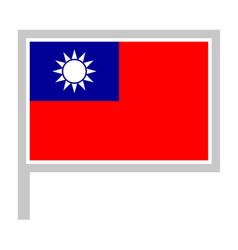 Taiwan flag on flagpole icon vector