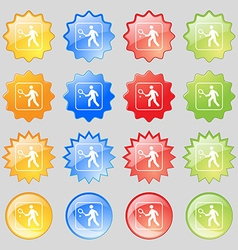 Tennis player icon sign Big set of 16 colorful vector