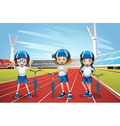 Three kids riding bike on the track vector image