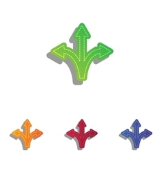 Three-way direction arrow sign Colorfull applique vector