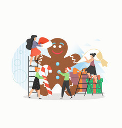 tiny people making giant gingerbread man flat vector image