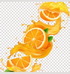 Transparent splash sliced orange juice 3d vector