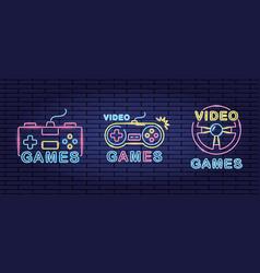 Video game neon vector