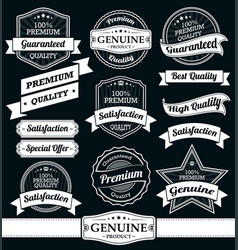 vintage labels and ribbons set vector image