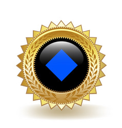 Waves cryptocurrency coin gold badge vector