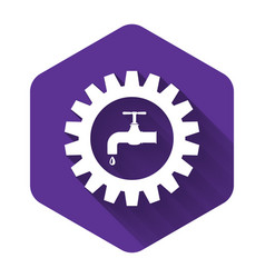 White gearwheel with tap icon isolated with long vector