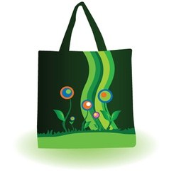 woman green bag with flower vector image