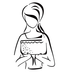 woman serving cake vector image