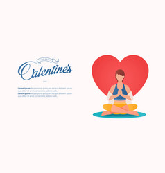 women in yoga pose for valentines day banner vector image
