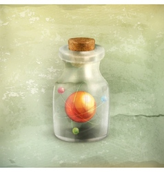 Atom in a bottle old style vector image vector image