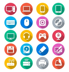 Computer flat color icons vector