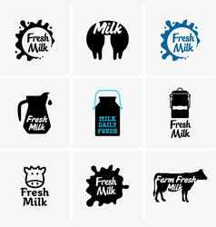 fresh milk signs vector image