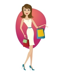 Happy shopping girl vector image