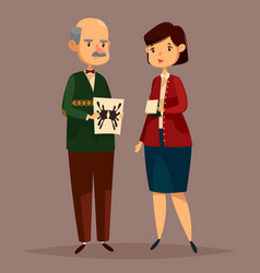 man psychologist holding rorschach test and woman vector image
