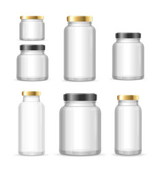 realistic empty glass jar can set vector image