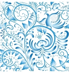 Seamless floral pattern Blue painted in gzhel vector image vector image