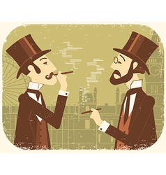Gentlemen in bowler hatsVintage London background vector image