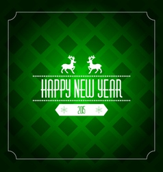 Happy new year 2015 greeting card template - green vector image vector image