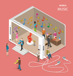 mobile cloud music service flat isometric vector image