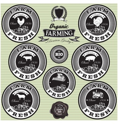 set of icons on the theme farm fresh vector image