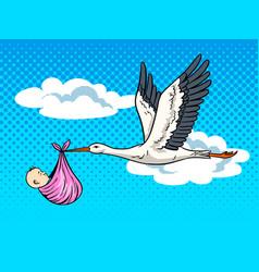 stork brings baby pop art vector image