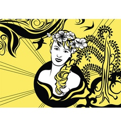 Yellow and black retro background with girl vector image