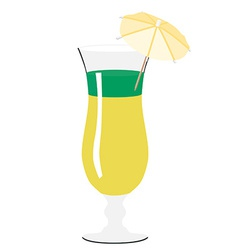 Yellow and green cocktail with umbrella vector image